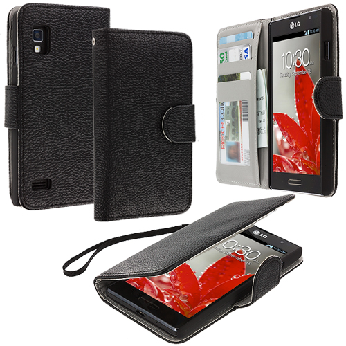 LG Optimus L9 P760 MetroPCS Black Leather Wallet Pouch Case Cover with Slots