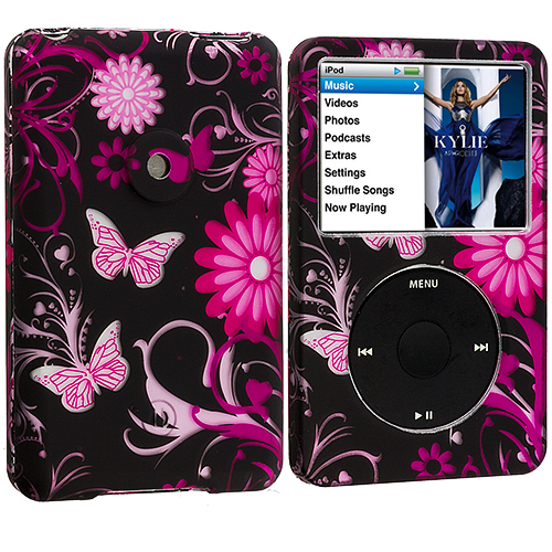 Apple iPod Classic Pink Butterfly Flower Hard Rubberized Design Case Cover