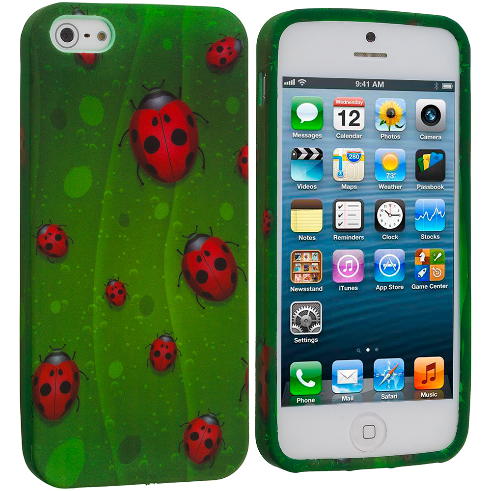 Apple iPhone 5/5S/SE Combo Pack : Deer TPU Design Soft Case Cover : Color Lady Bug