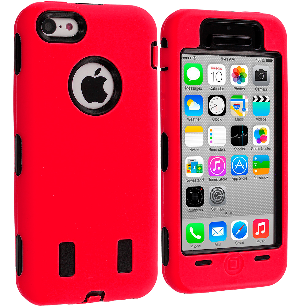 Apple iPhone 5C 2 in 1 Combo Bundle Pack - Red / Yellow Hybrid Deluxe Hard/Soft Case Cover : Color Red / Black