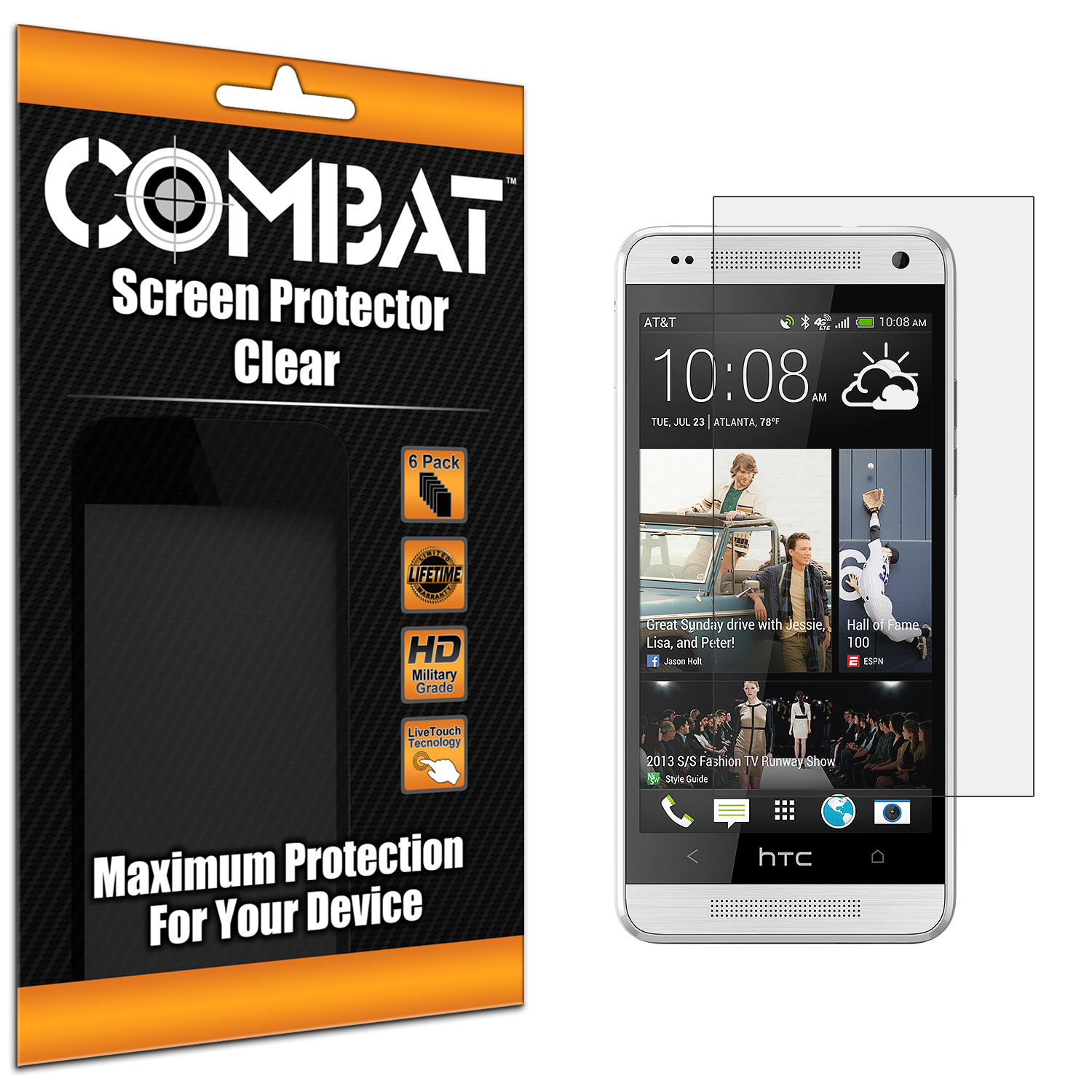 HTC One Mini Combat 6 Pack HD Clear Screen Protector