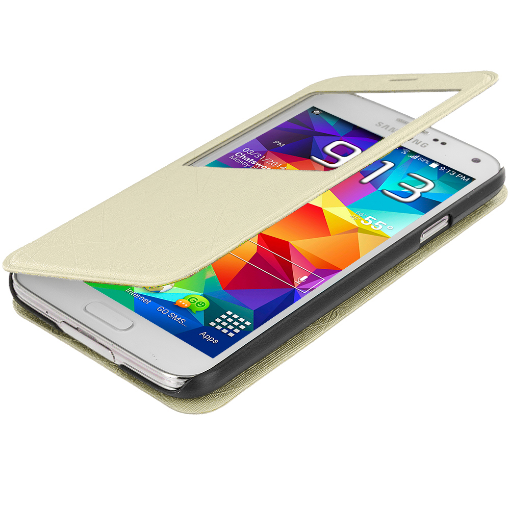 Samsung Galaxy S5 White (S-View) Magnetic Wallet Case Cover Pouch