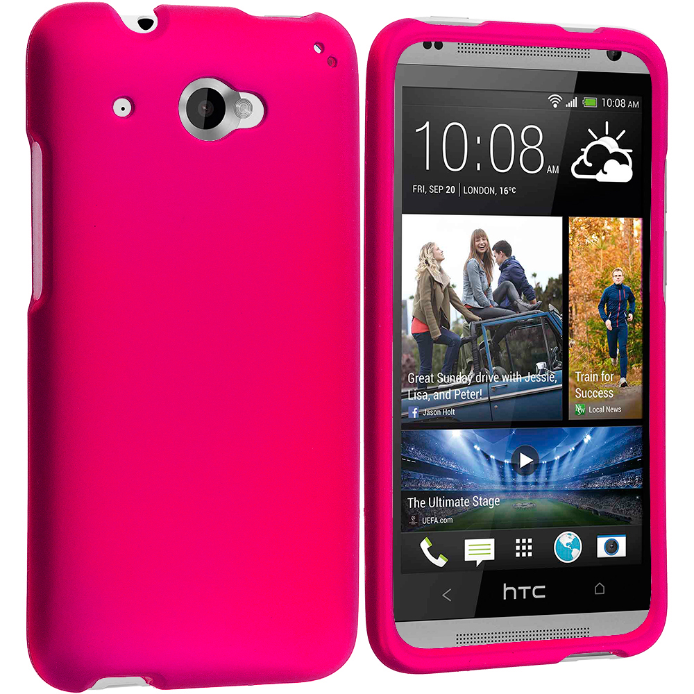 HTC Desire 601 Hot Pink Hard Rubberized Case Cover