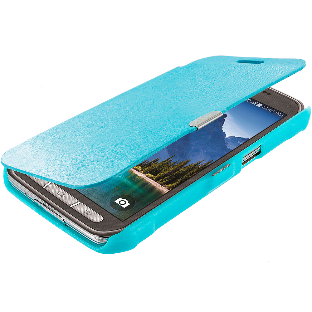 Samsung Galaxy S5 Active Baby Blue Magnetic Wallet Case Cover Pouch