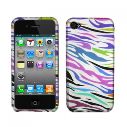 Apple iPhone 4 Colorful Zebra Design Crystal Hard Case Cover