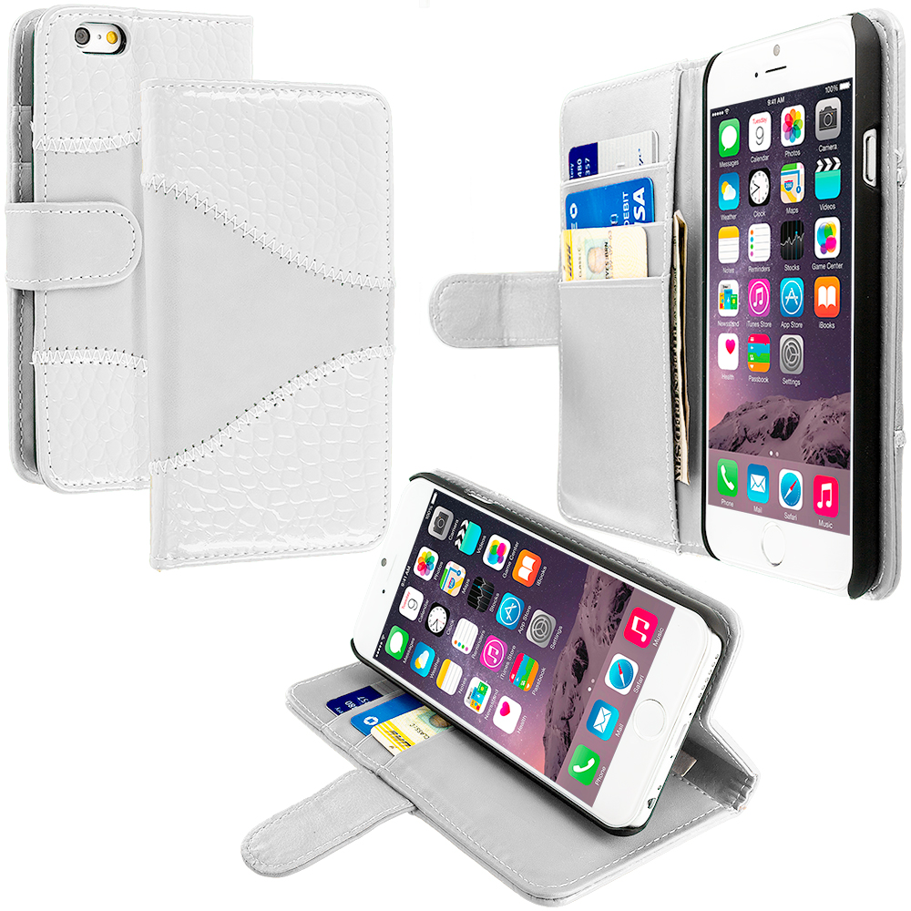 Apple iPhone 6 6S (4.7) White Crocodile Leather Wallet Pouch Case Cover with Slots