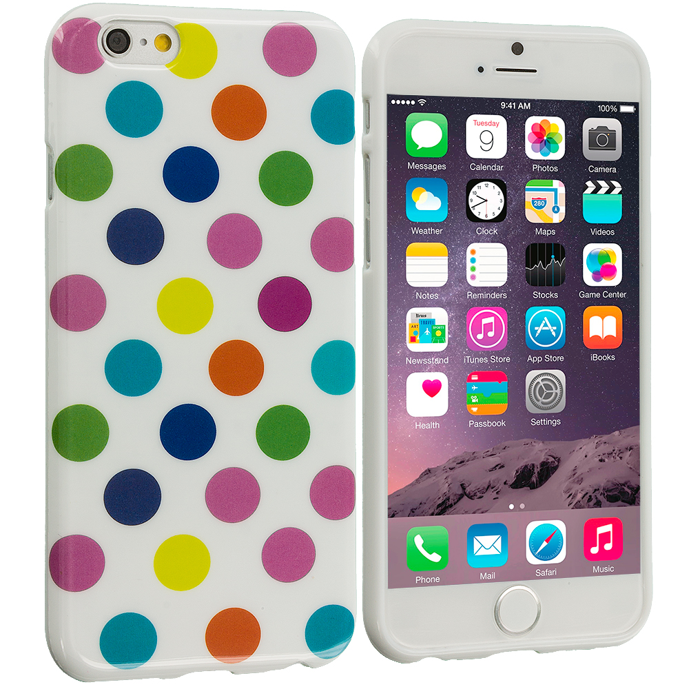 Apple iPhone 6 6S (4.7) 4 in 1 Combo Bundle Pack - TPU Polka Dot Skin Case Cover : Color White / Colorful