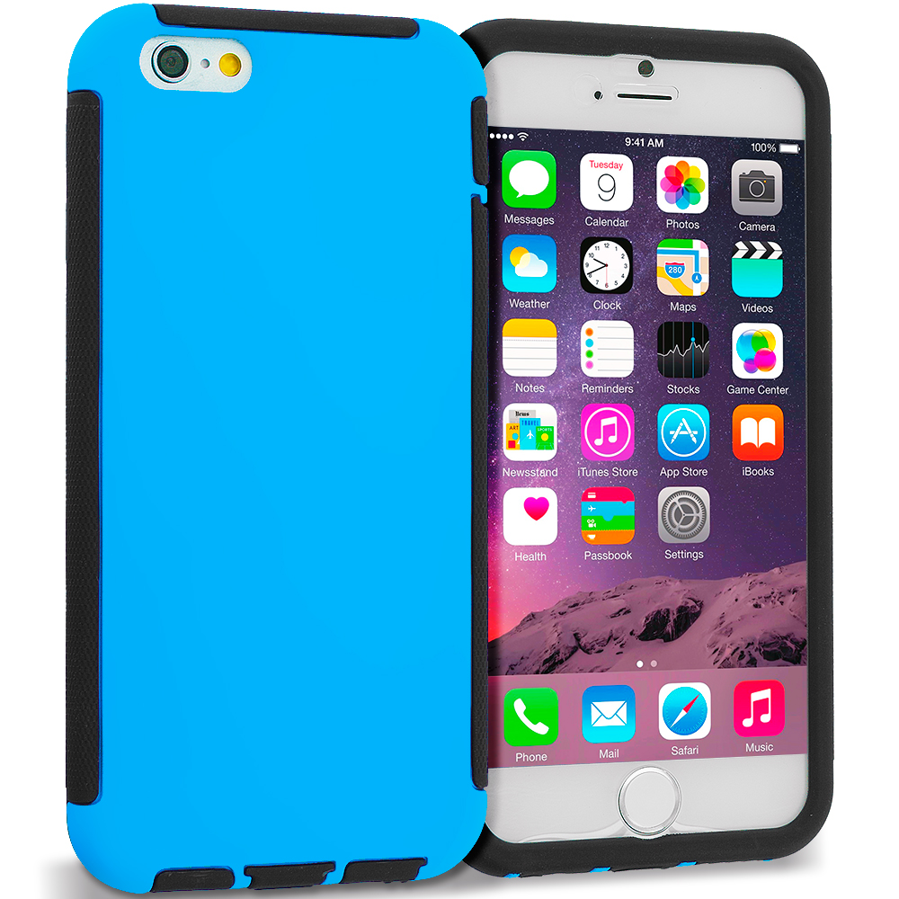 Apple iPhone 6 6S (4.7) Black / Blue Hybrid Hard TPU Shockproof Case Cover With Built in Screen Protector