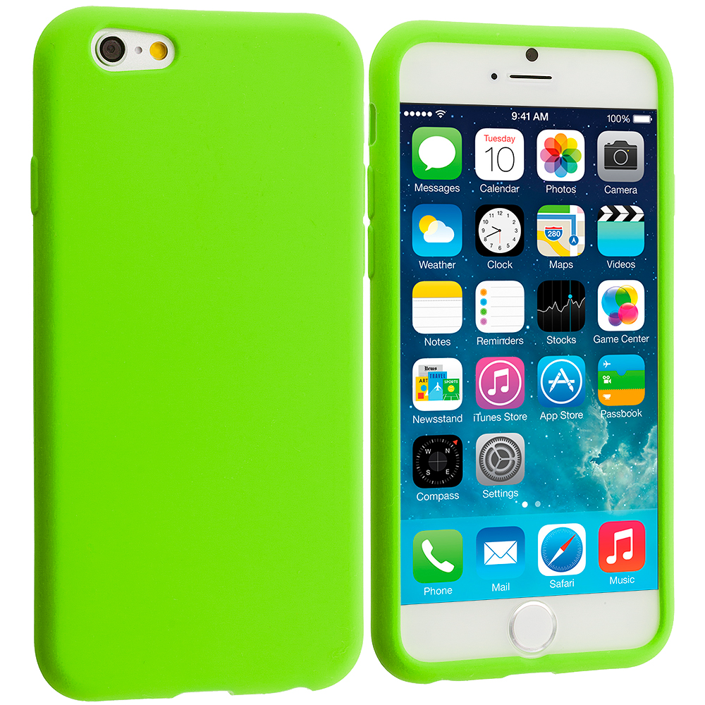 Apple iPhone 6 Plus 6S Plus (5.5) 4 in 1 Combo Bundle Pack - Silicone Soft Skin Rubber Case Cover : Color Neon Green
