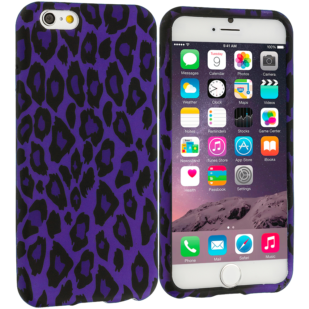 Apple iPhone 6 Plus 6S Plus (5.5) Purple Black Leopard TPU Design Soft Rubber Case Cover