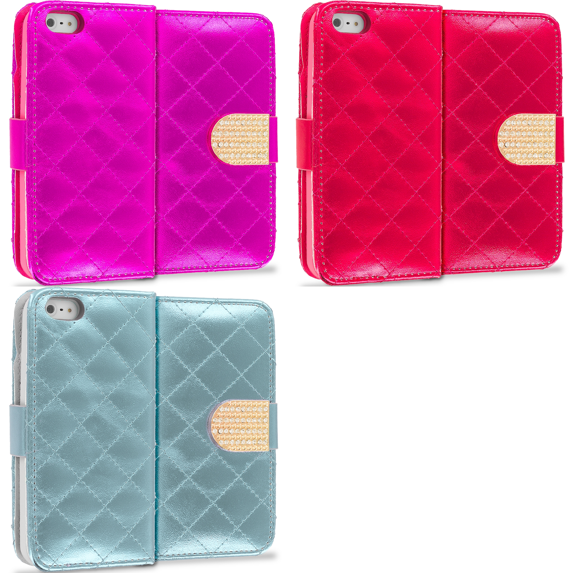 Apple iPhone 5/5S/SE Combo Pack : Hot Pink Luxury Wallet Diamond Design Case Cover With Slots