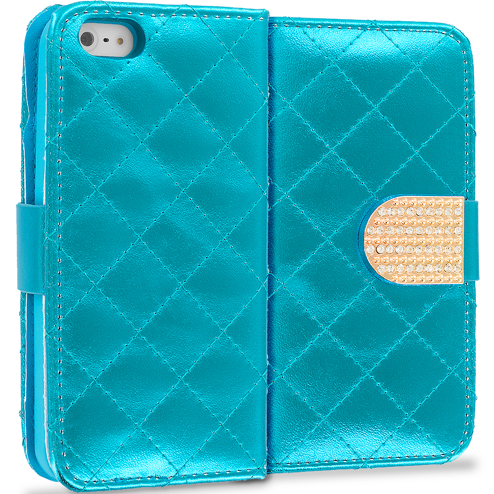 Apple iPhone 5/5S/SE Teal Luxury Wallet Diamond Design Case Cover With Slots