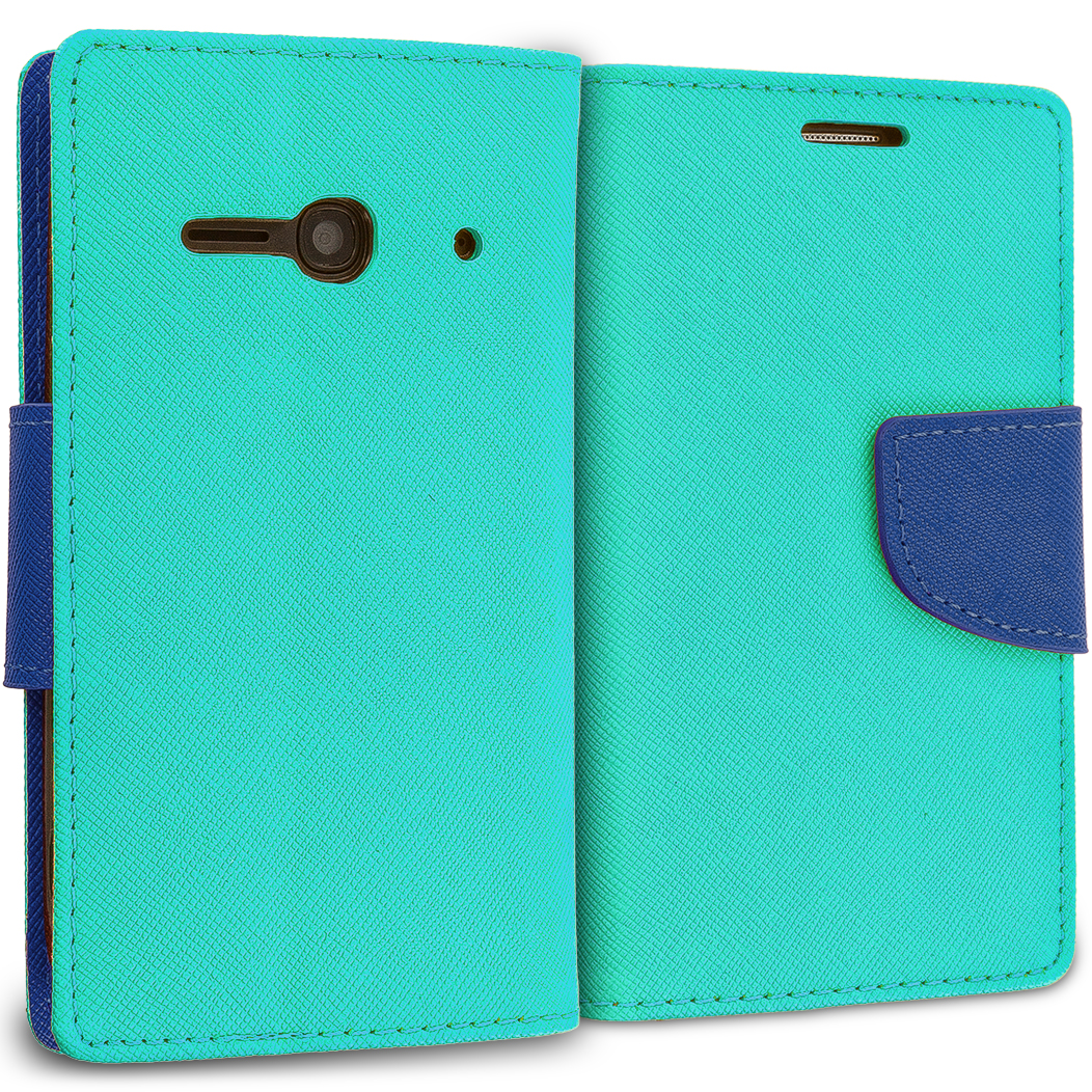 Alcatel One Touch Evolve 2 Mint Green / Navy Blue Leather Flip Wallet Pouch TPU Case Cover with ID Card Slots