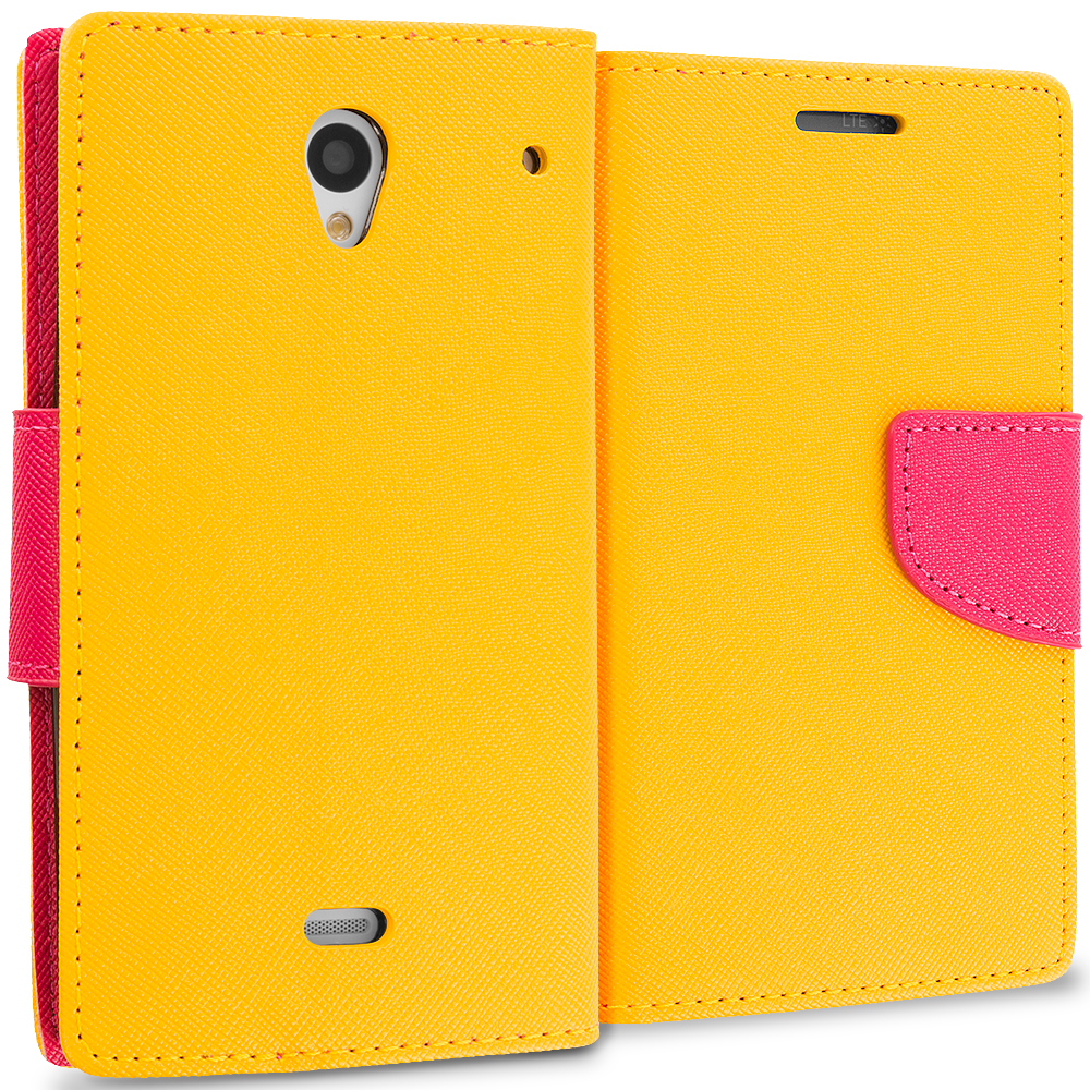 Sharp Aquos Crystal Yellow / Hot Pink Leather Flip Wallet Pouch TPU Case Cover with ID Card Slots