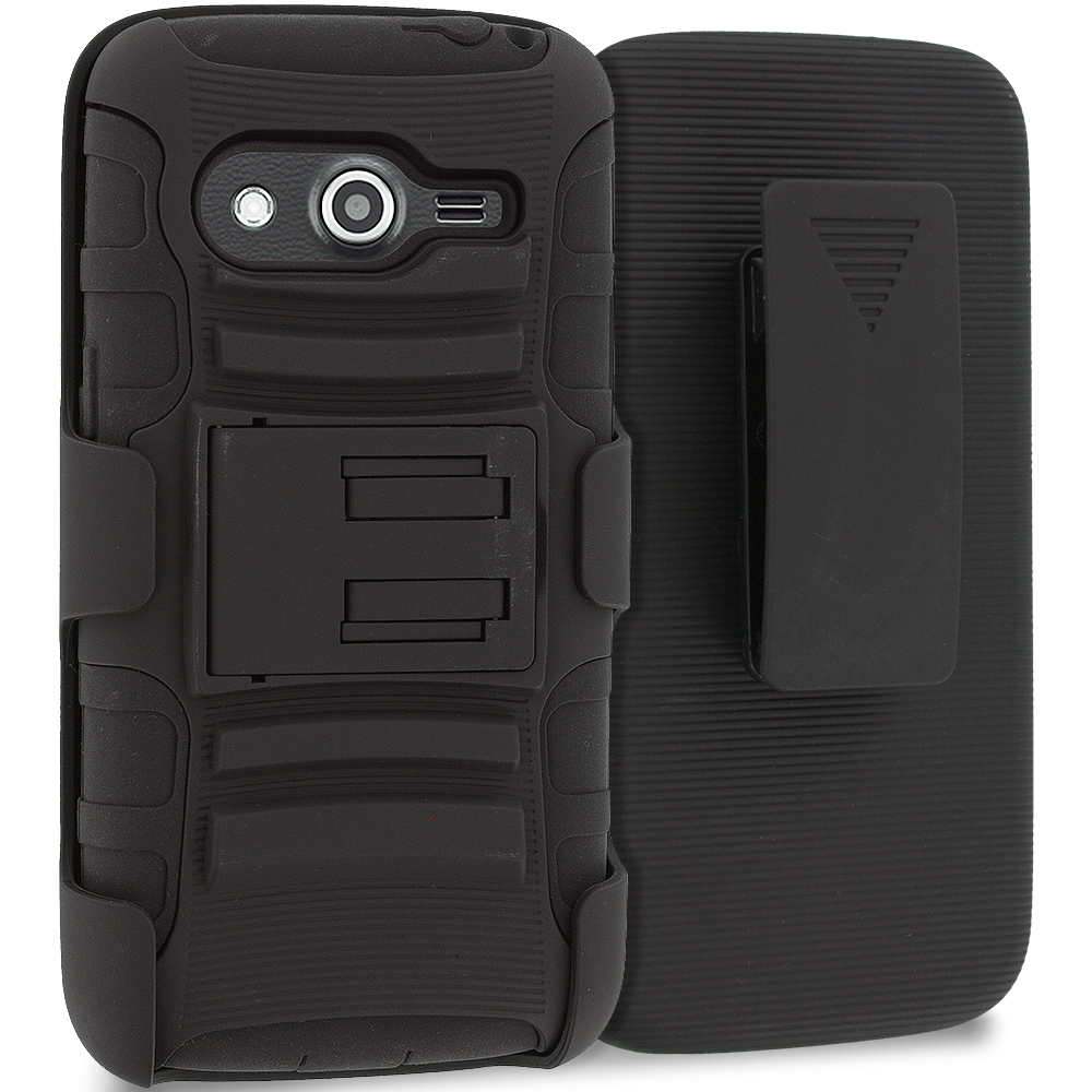 Samsung Galaxy Avant G386 Black Hybrid Heavy Duty Rugged Case Cover with Belt Clip Holster