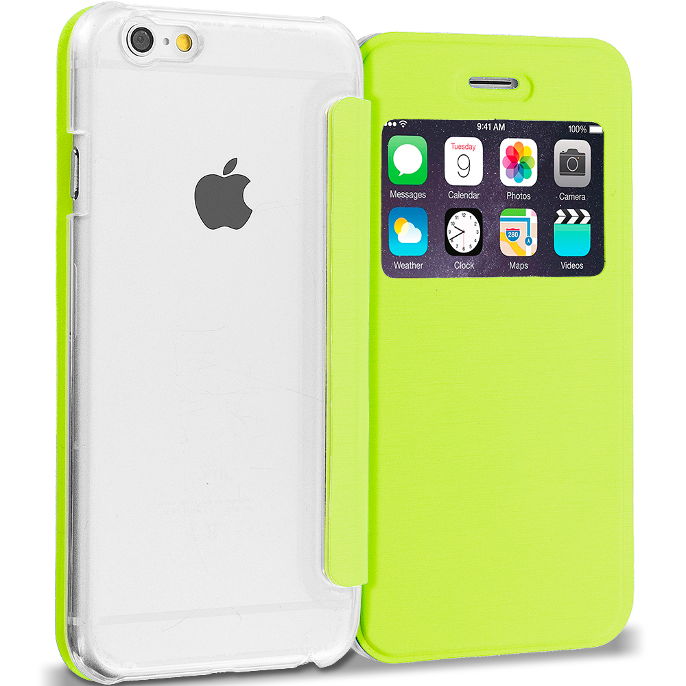 Apple iPhone 6 Plus Neon Green Slim Hard Wallet Flip Case Cover Clear Back With Window