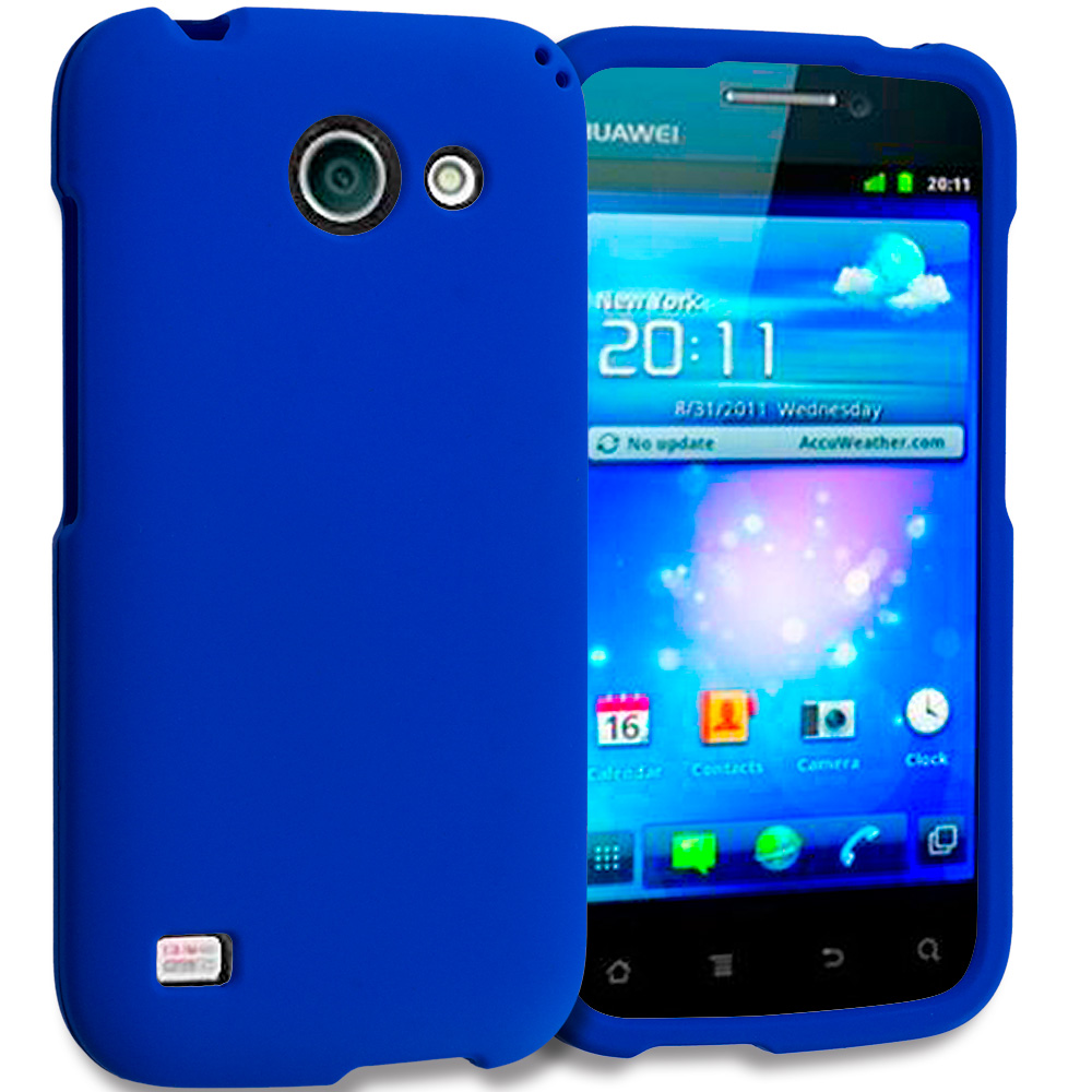 Huawei Tribute Fusion 3 Y536A1 Blue Hard Rubberized Case Cover