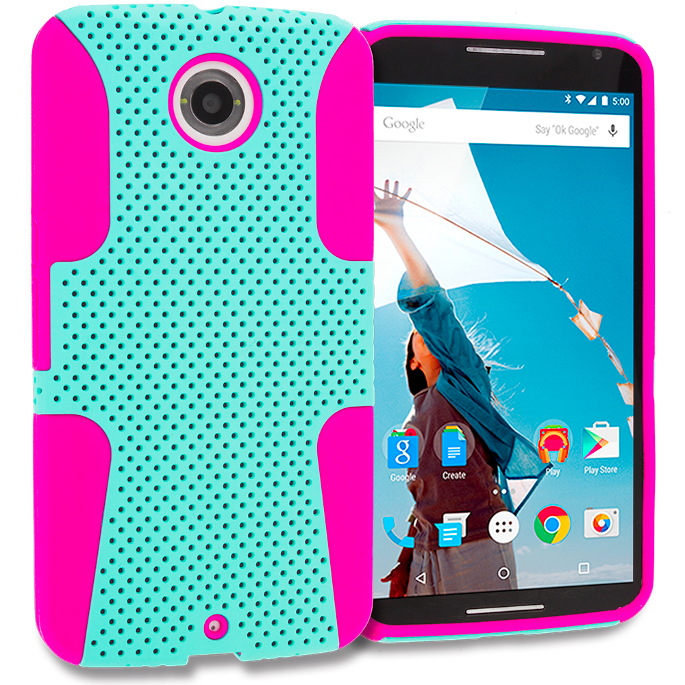 Motorola Google Nexus 6 Hot Pink / Mint Green Hybrid Mesh Hard/Soft Case Cover