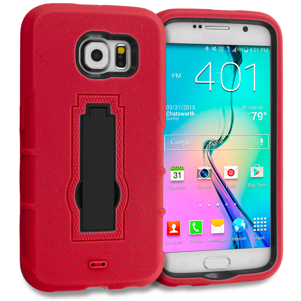 Samsung Galaxy S6 2 in 1 Combo Bundle Pack - Hybrid Heavy Duty Hard Soft Case Cover with Kickstand : Color Red / Black