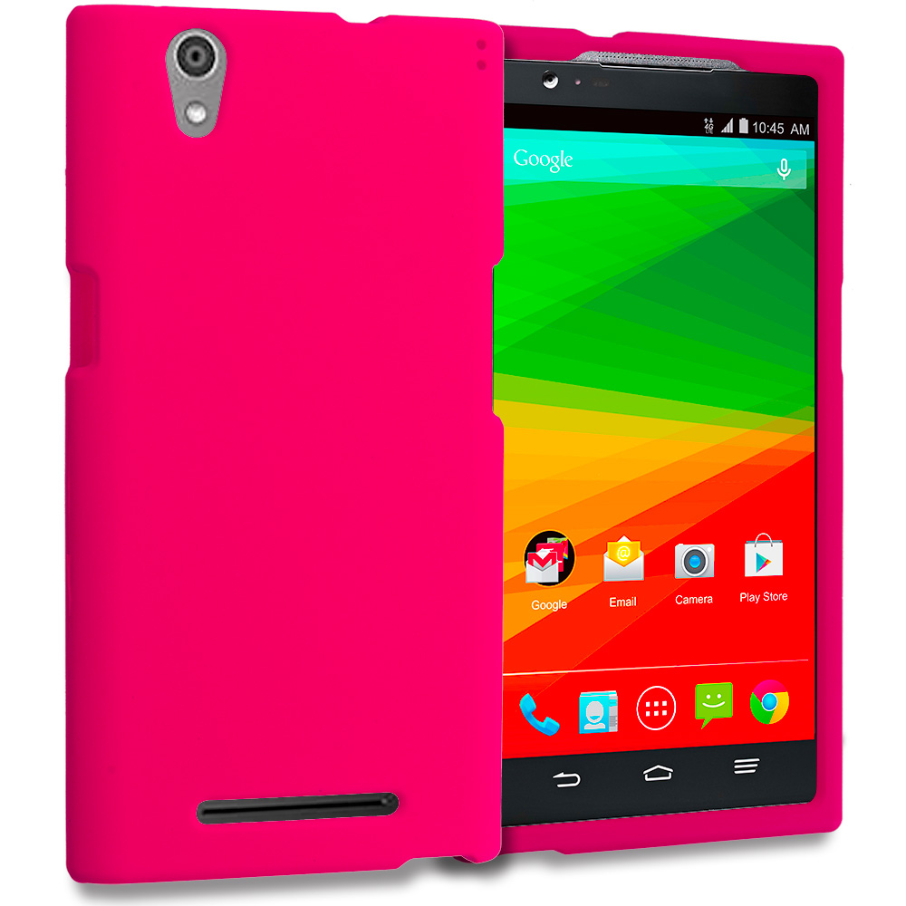 ZTE Zmax Hot Pink Hard Rubberized Case Cover
