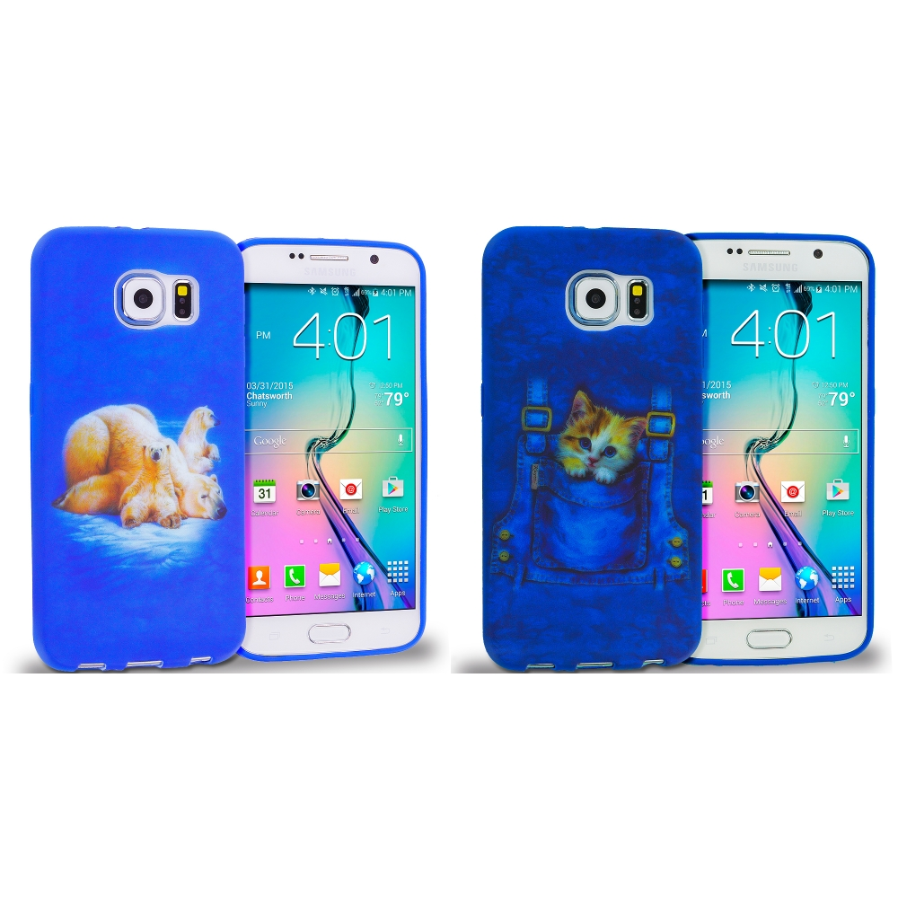 Samsung Galaxy S6 Combo Pack : Polar Bear TPU Design Soft Rubber Case Cover