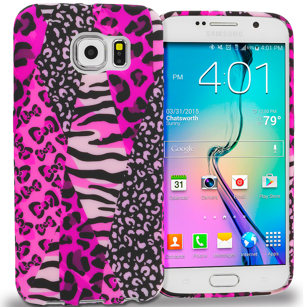 Samsung Galaxy S6 Combo Pack : Mix Animal Skin TPU Design Soft Rubber Case Cover : Color Bowknot Zebra