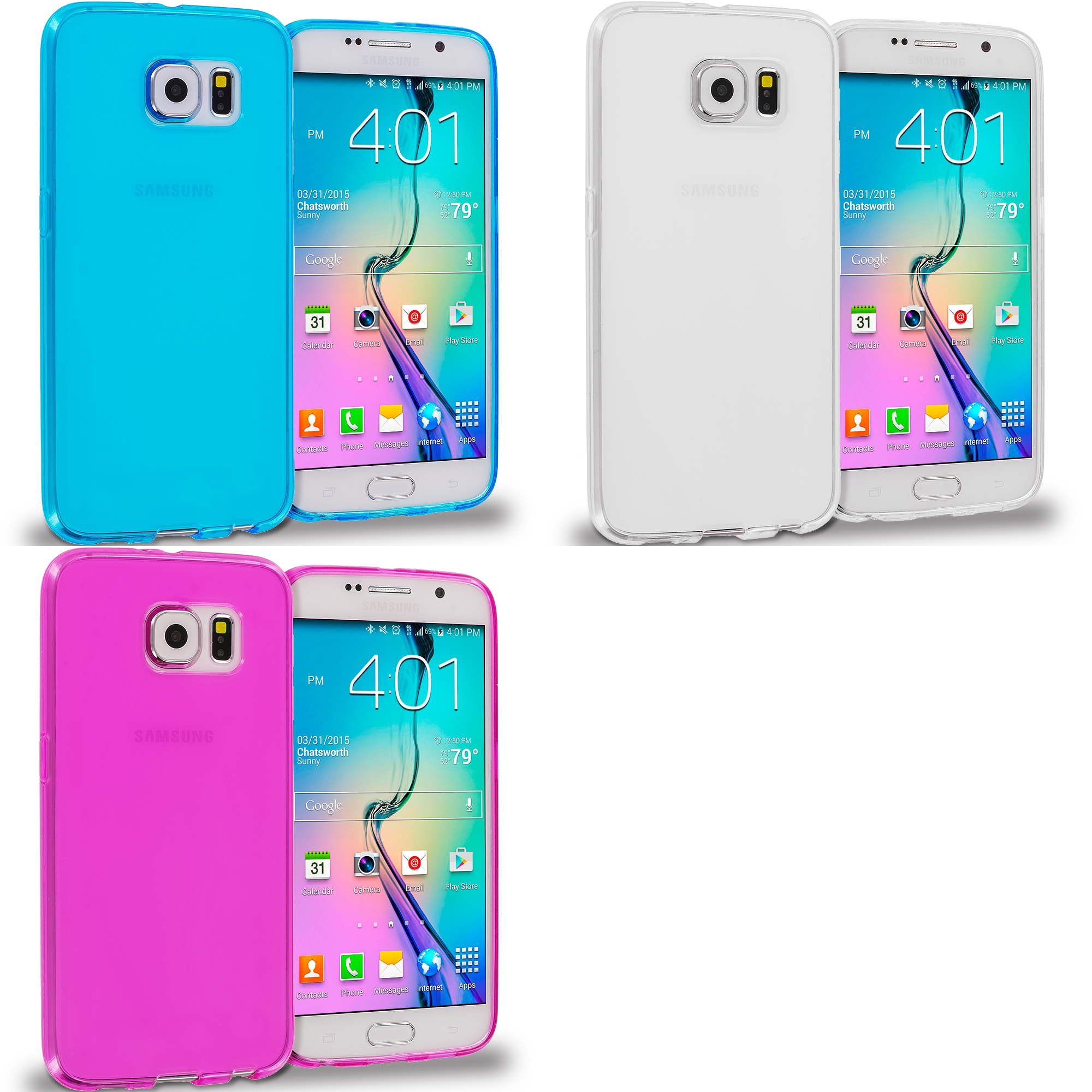Samsung Galaxy S6 3 in 1 Combo Bundle Pack - Plain TPU Rubber Skin Case Cover