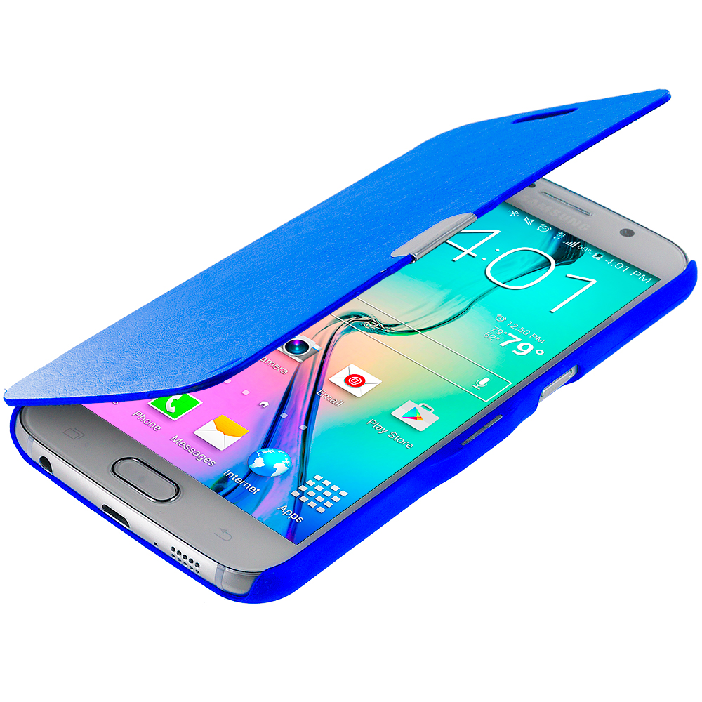 Samsung Galaxy S6 Blue Magnetic Flip Wallet Case Cover Pouch