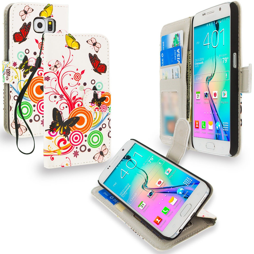 Samsung Galaxy S6 Autumn Flower Leather Wallet Pouch Case Cover with Slots