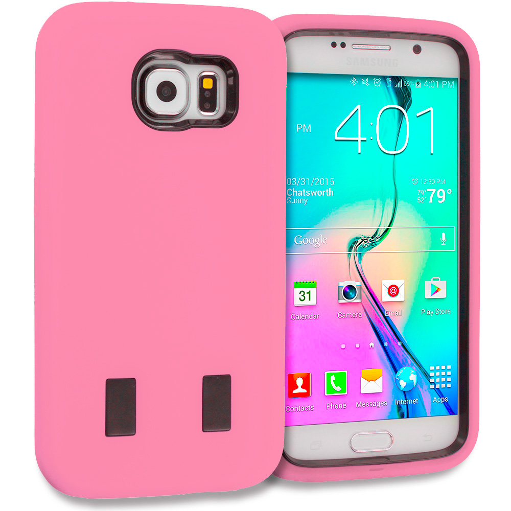 Samsung Galaxy S6 Combo Pack : Baby Blue / Black Hybrid Deluxe Hard/Soft Case Cover : Color Light Pink / Black