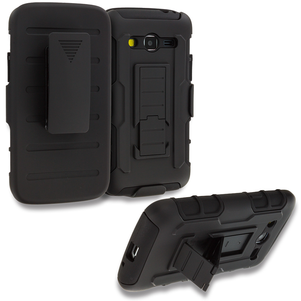 Samsung Galaxy Avant G386 Black Hybrid Rugged Robot Armor Heavy Duty Case Cover with Belt Clip Holster