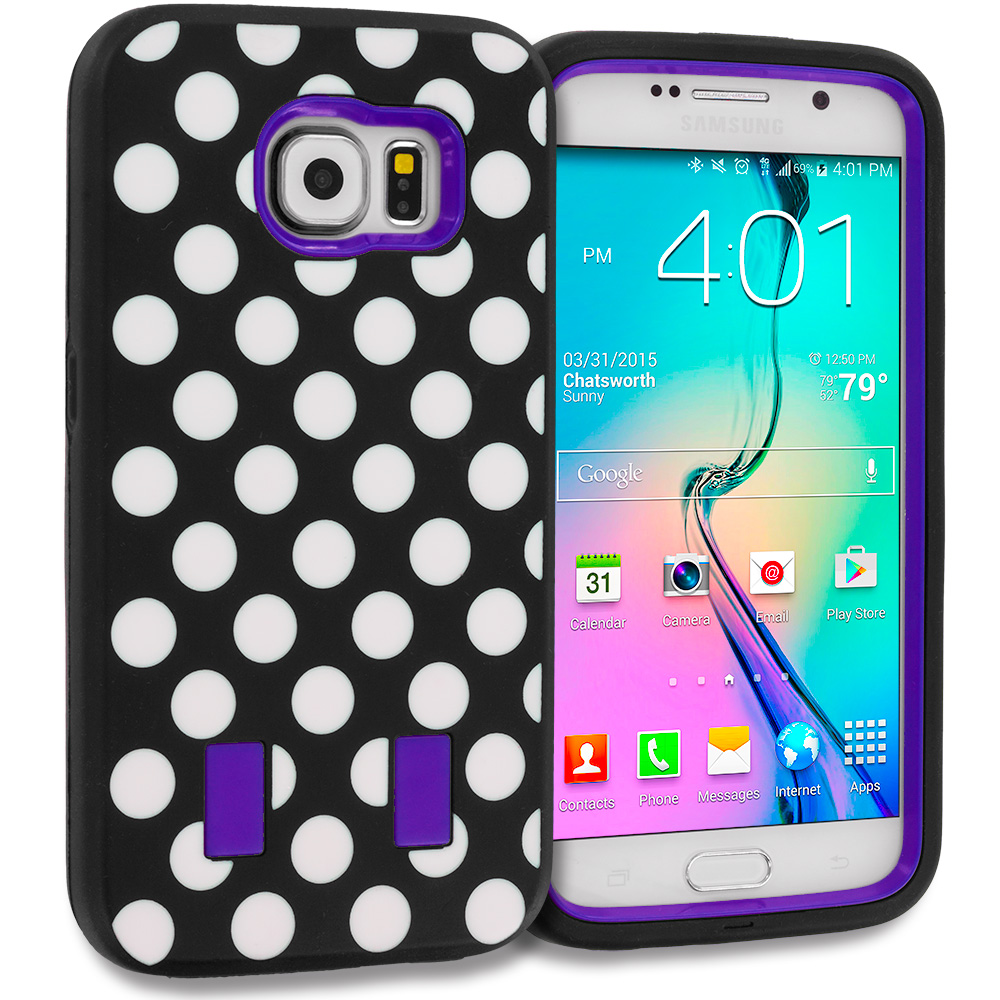 Samsung Galaxy S6 Polka Dot Purple Hybrid Deluxe Hard/Soft Case Cover