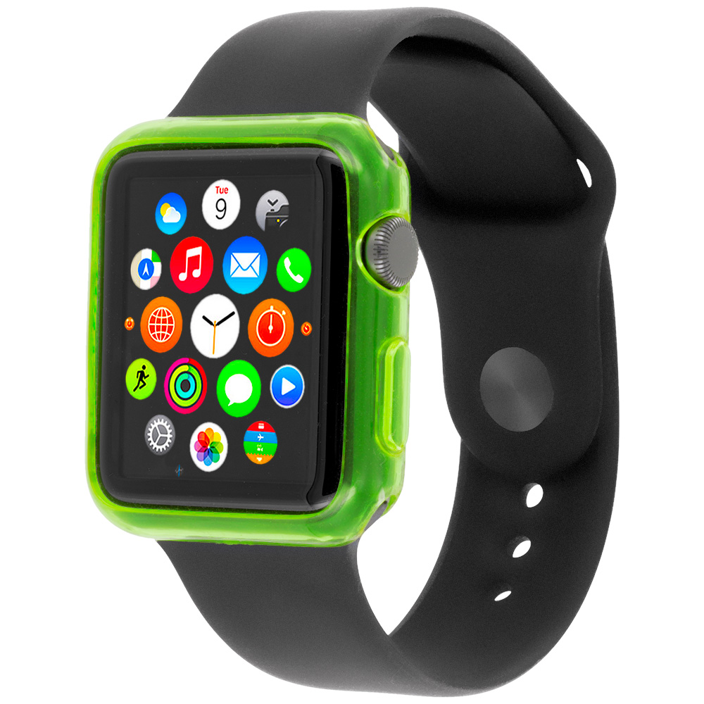 Apple Watch 42mm Neon Green TPU Rubber Skin Case Cover