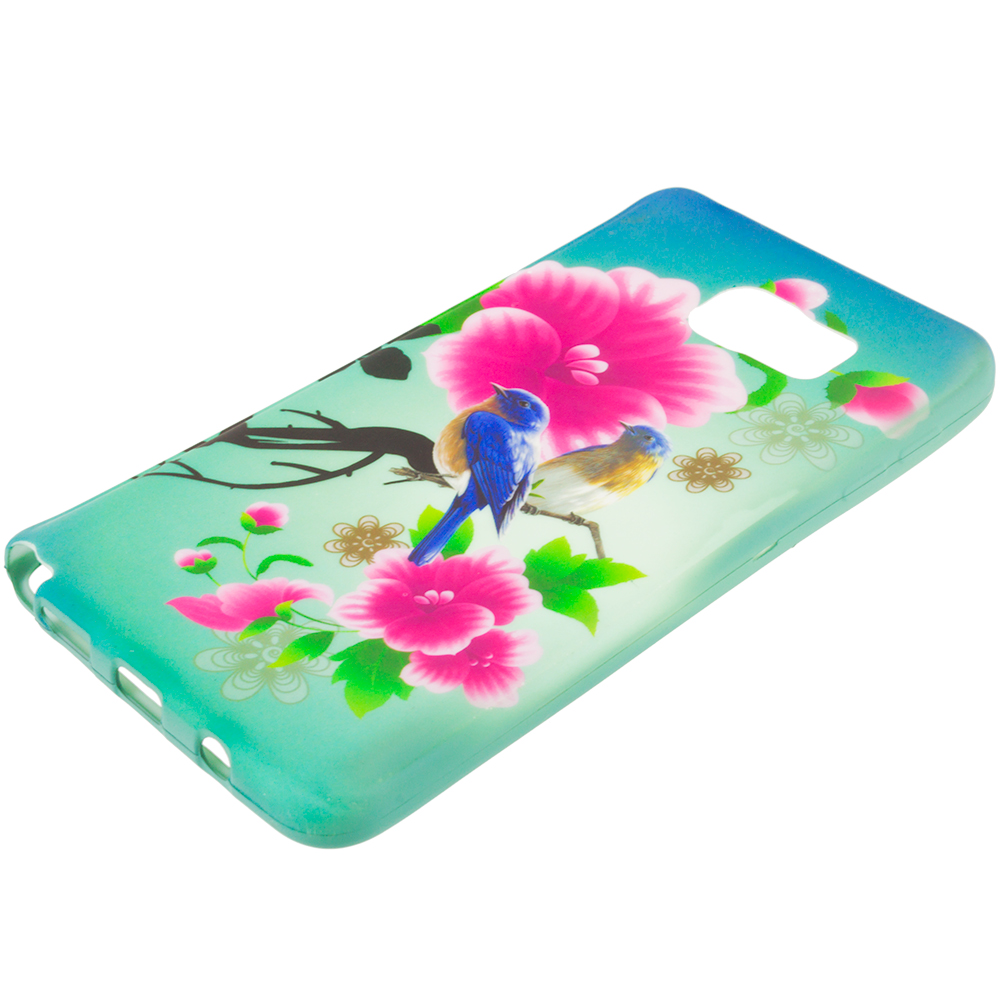 Samsung Galaxy Note 5 Blue Bird Pink Flower TPU Design Soft Rubber Case Cover