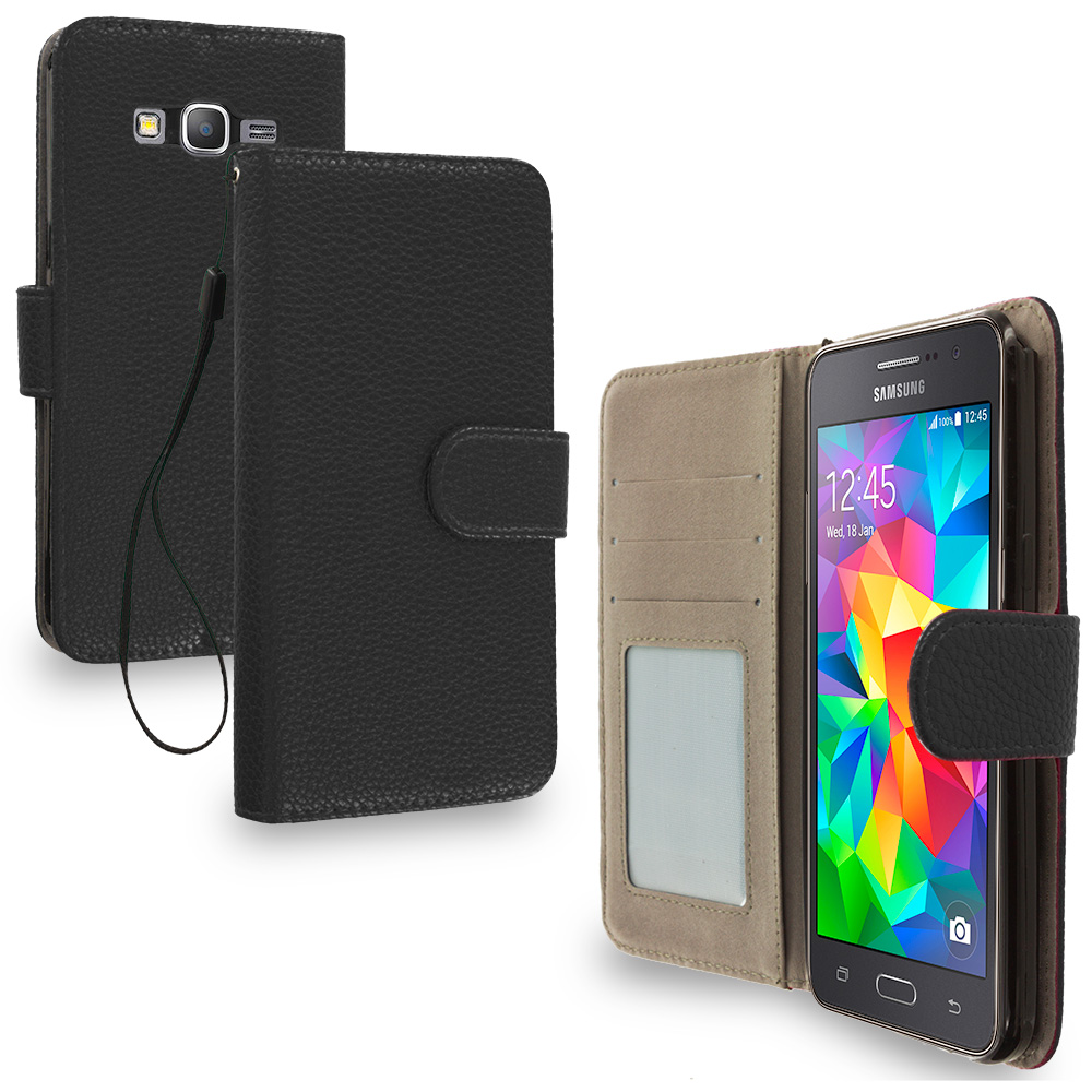 Samsung Galaxy Grand Prime LTE G530 Black Leather Wallet Pouch Case Cover with Slots