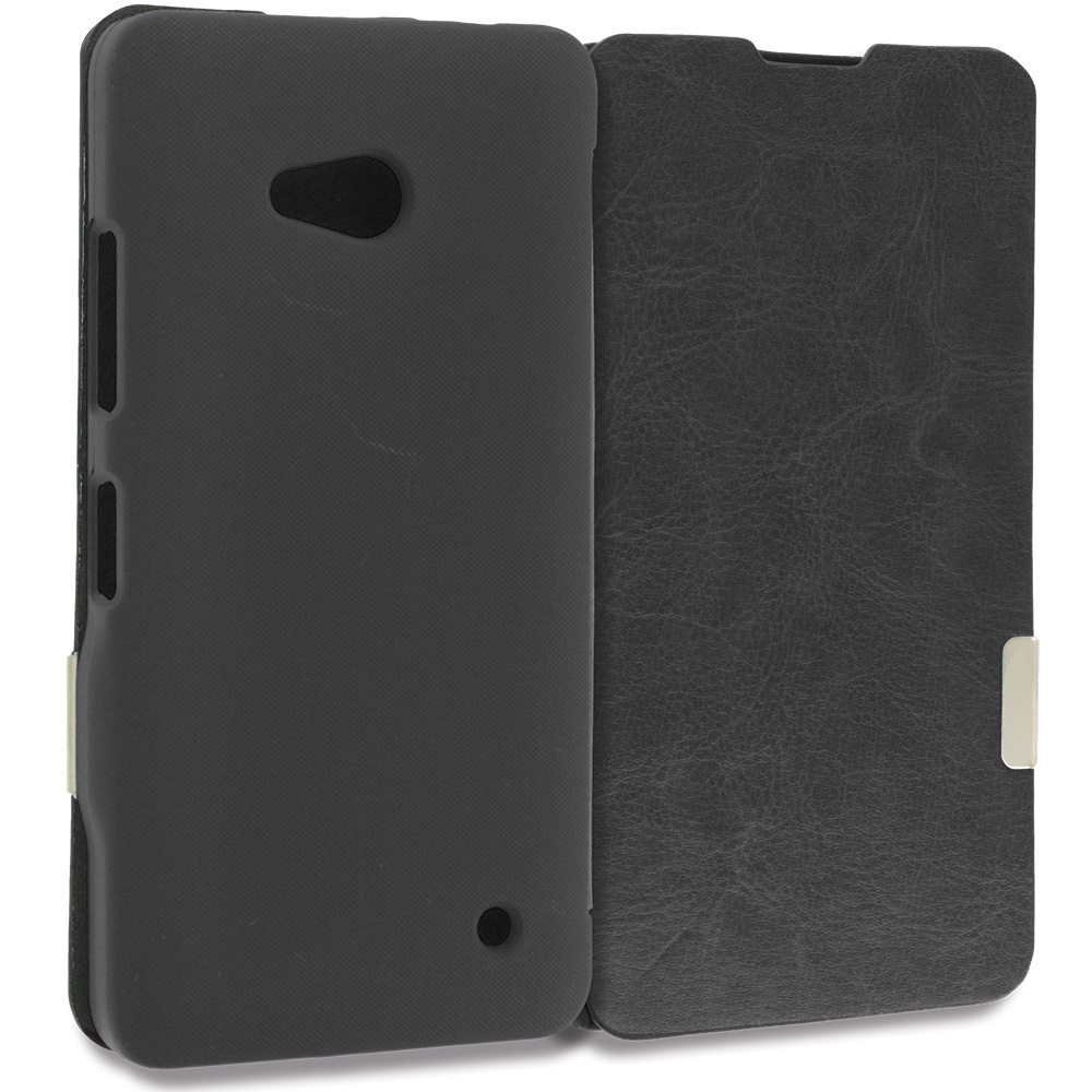 Microsoft Lumia 640 2 in 1 Combo Bundle Pack - White Black Magnetic Flip Wallet Case Cover Pouch : Color Black