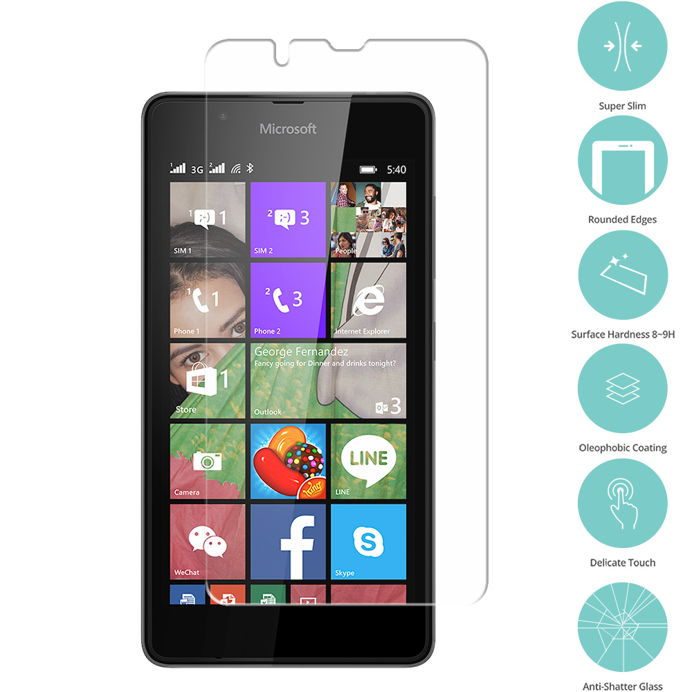 Nokia Microsoft Lumia 540 Dual Clear Tempered Glass Film Screen Protector Clear