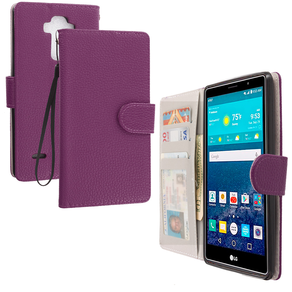 LG G Vista 2 Purple Leather Wallet Pouch Case Cover with Slots