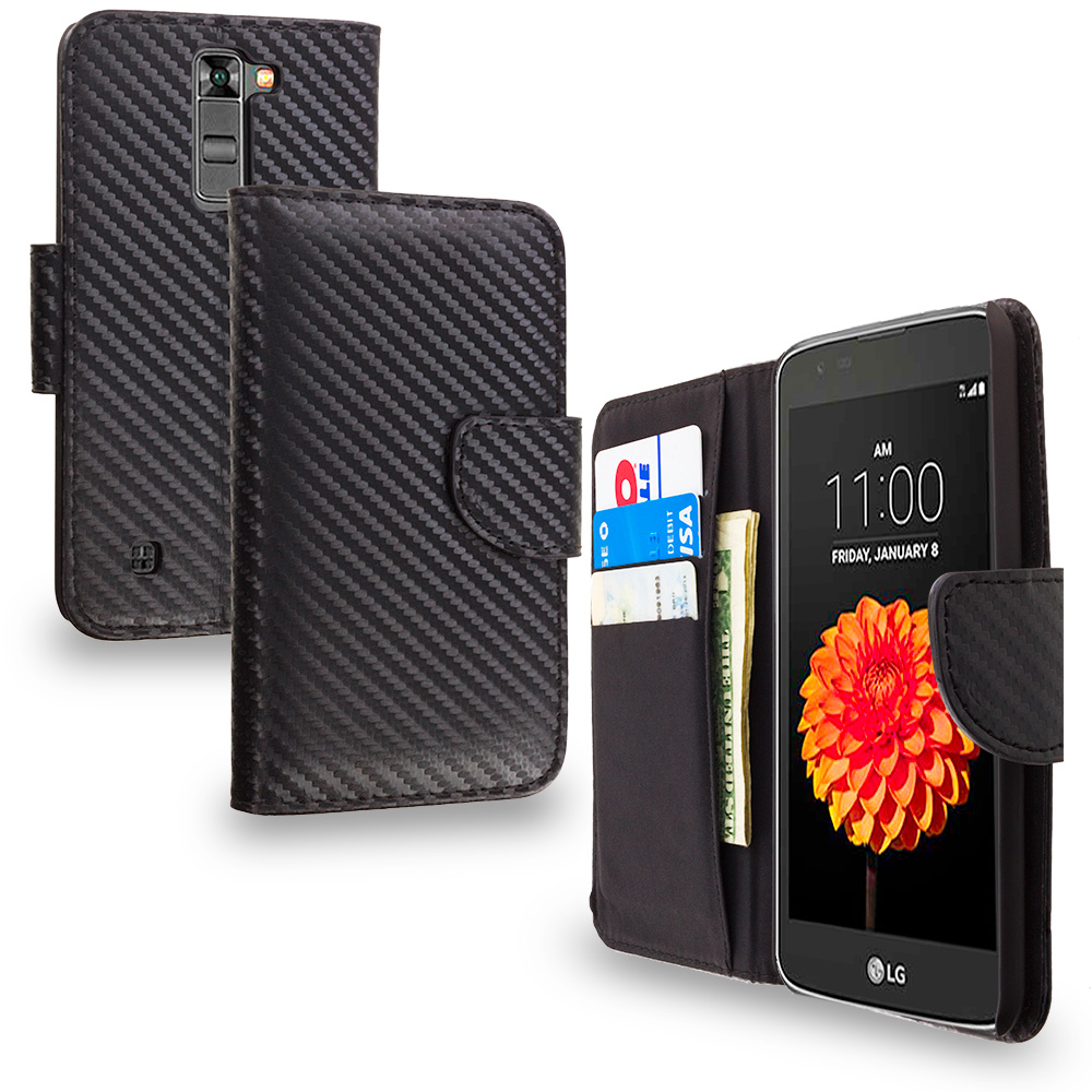 LG Tribute 5 K7 Phoenix 2 Escape 3 Treasure Carbon Fiber Leather Wallet Pouch Case Cover with Slots