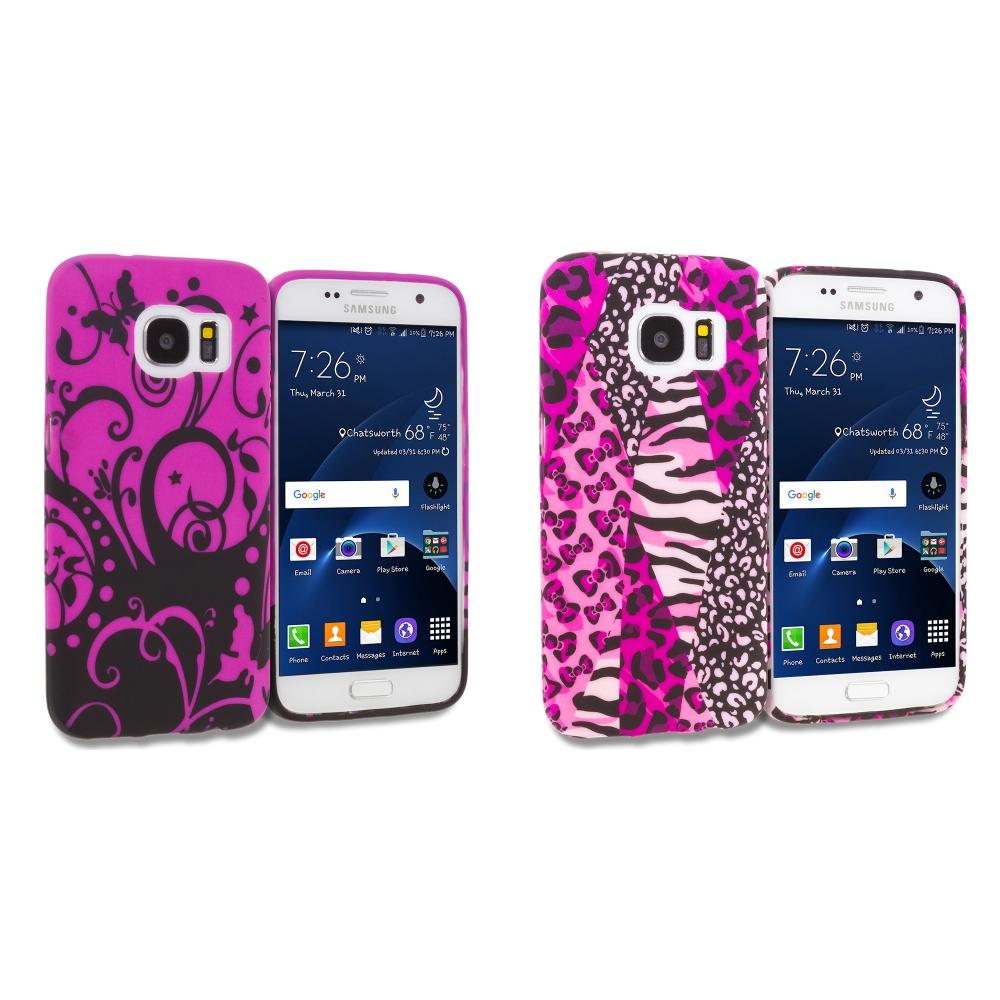 Samsung Galaxy S7 Combo Pack : Black Purple Swirl TPU Design Soft Rubber Case Cover