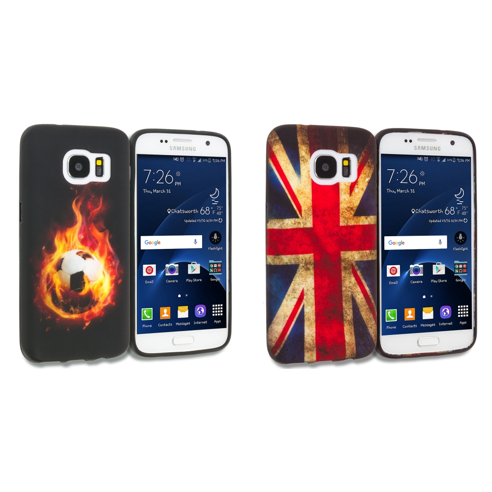 Samsung Galaxy S7 Combo Pack : Flaming Soccer Ball TPU Design Soft Rubber Case Cover