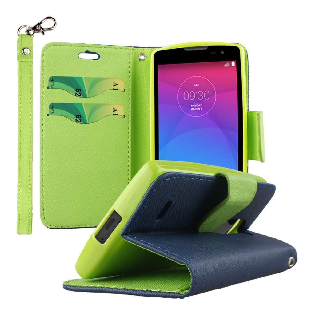 LG Leon / Tribute 2 - Blue MPERO FLEX FLIP 2 Wallet Stand Case Cover