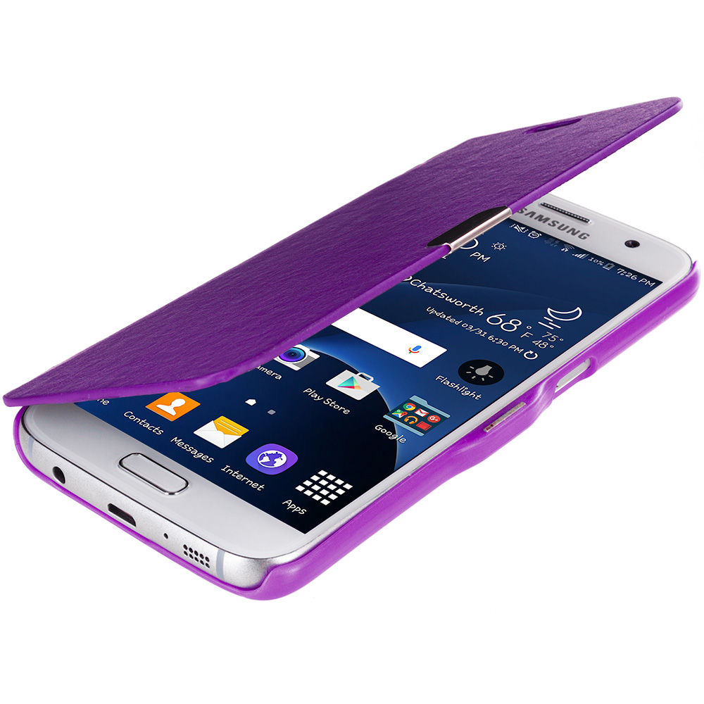 Samsung Galaxy S7 Combo Pack : Baby Blue Magnetic Flip Wallet Case Cover Pouch : Color Purple