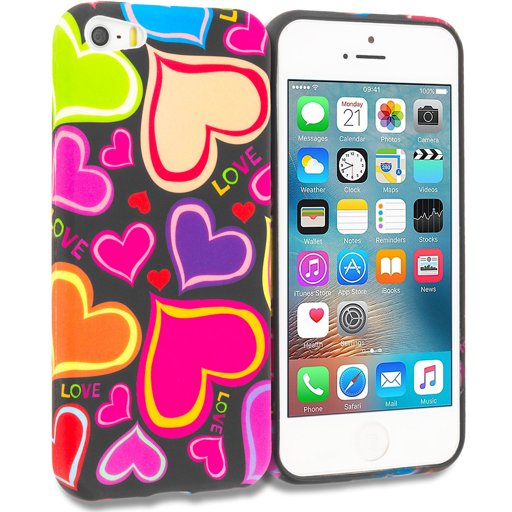 Apple iPhone 5/5S/SE Combo Pack : Rainbow Hearts Black TPU Design Soft Rubber Case Cover : Color Rainbow Hearts Black