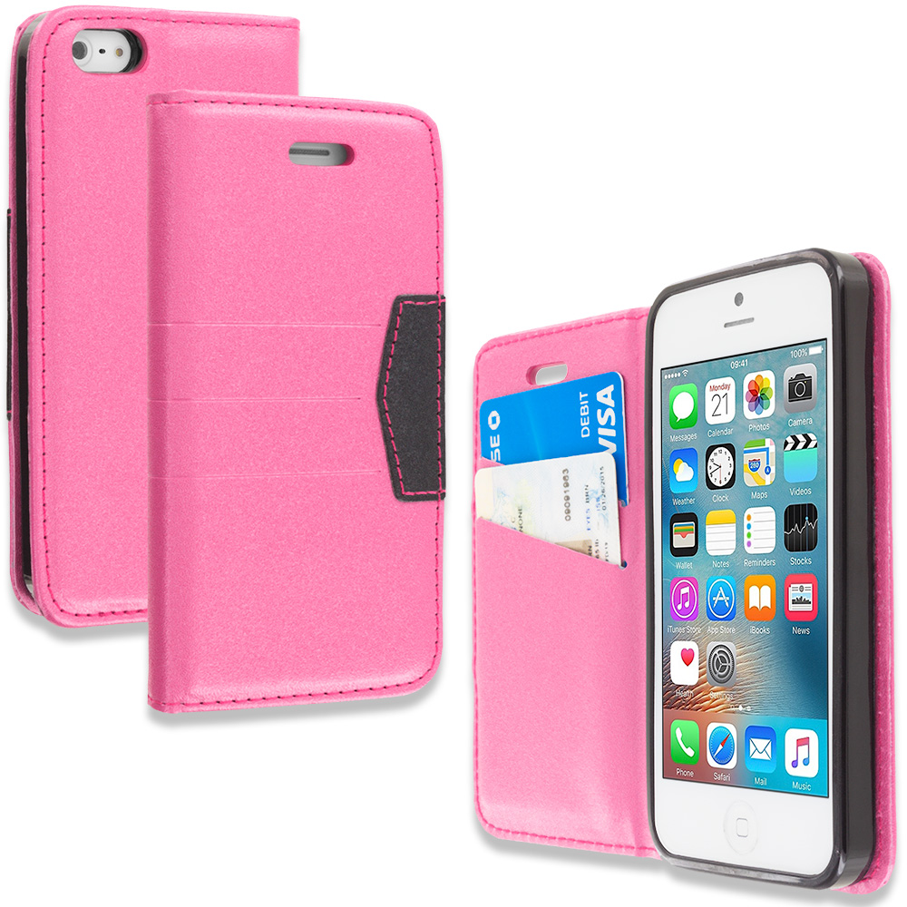 Apple iPhone 5/5S/SE Combo Pack : Purple Wallet Flip Leather Pouch Case Cover with ID Card Slots : Color Hot Pink