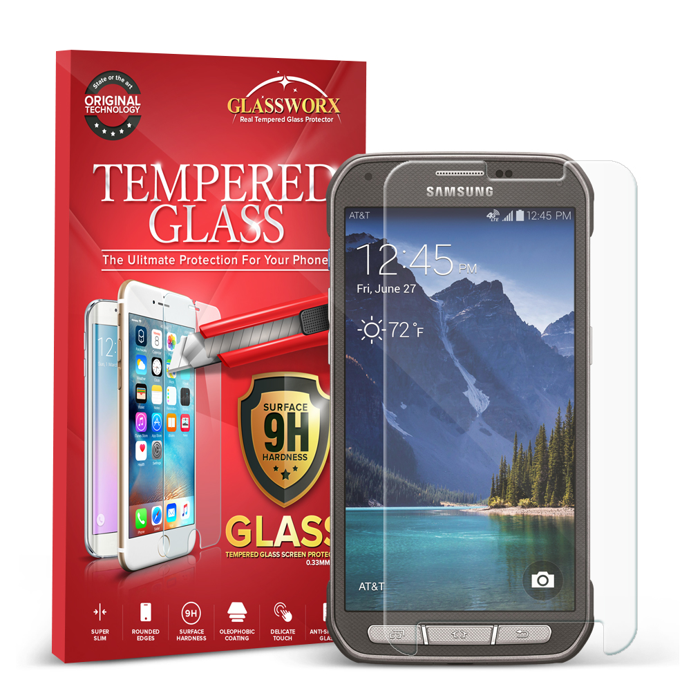 Samsung Galaxy S5 Active Clear GlassWorX HD Tempered Glass Screen Protector
