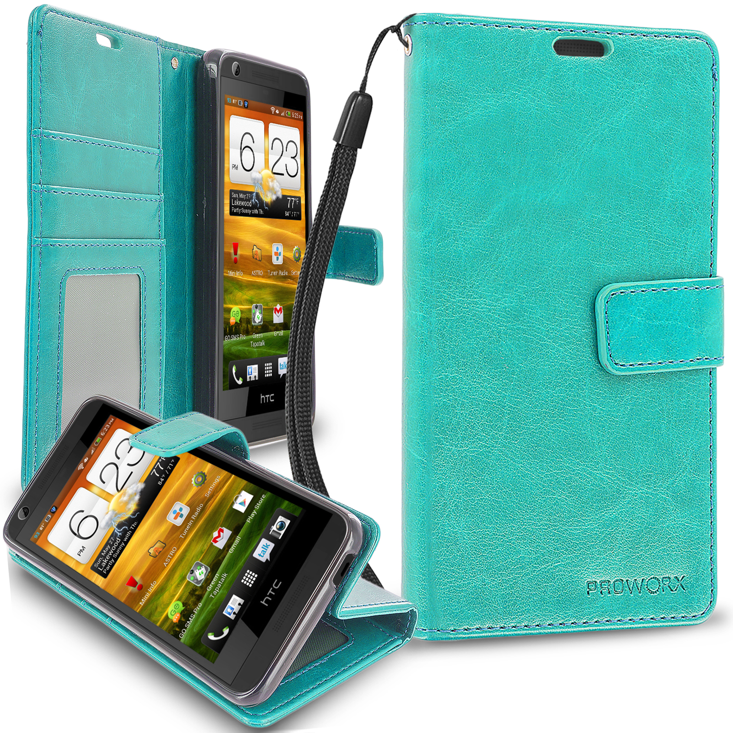 HTC Desire 626 / 626s Mint Green ProWorx Wallet Case Luxury PU Leather Case Cover With Card Slots & Stand