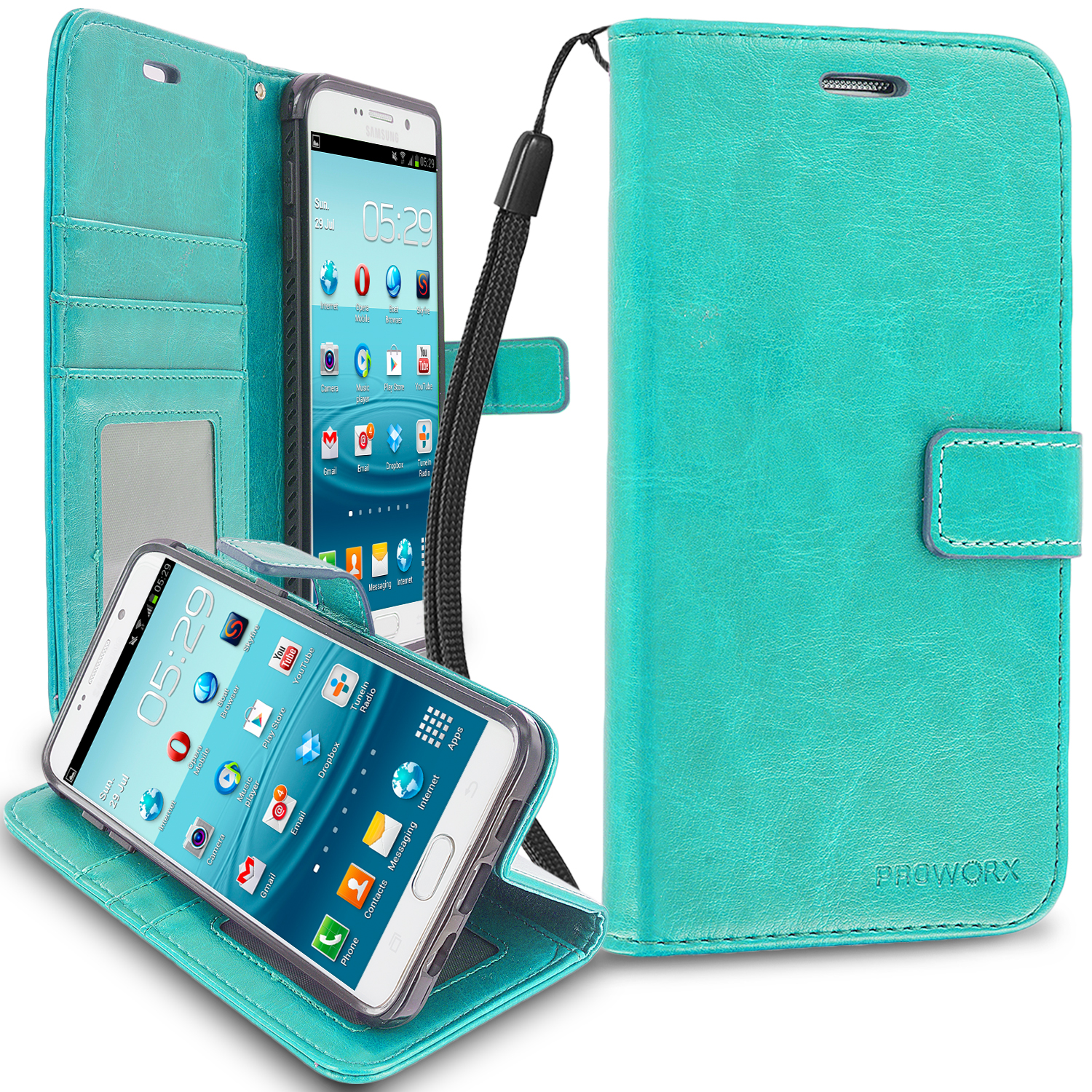 Samsung Galaxy S6 Edge Mint Green ProWorx Wallet Case Luxury PU Leather Case Cover With Card Slots & Stand