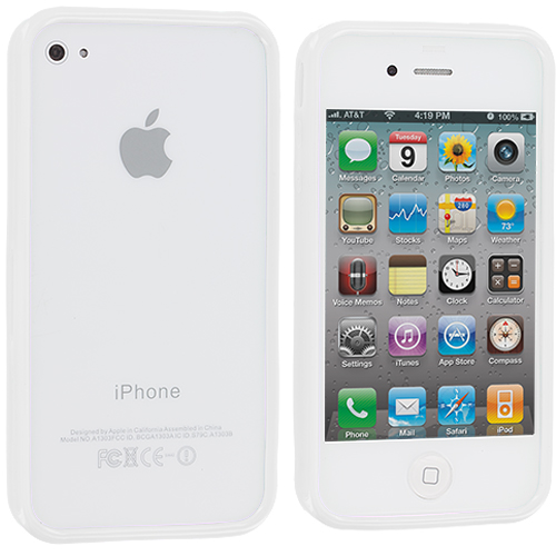 Apple iPhone 4 / 4S 2 in 1 Combo Bundle Pack - Neon Green Silver Solid TPU Bumper : Color White Solid