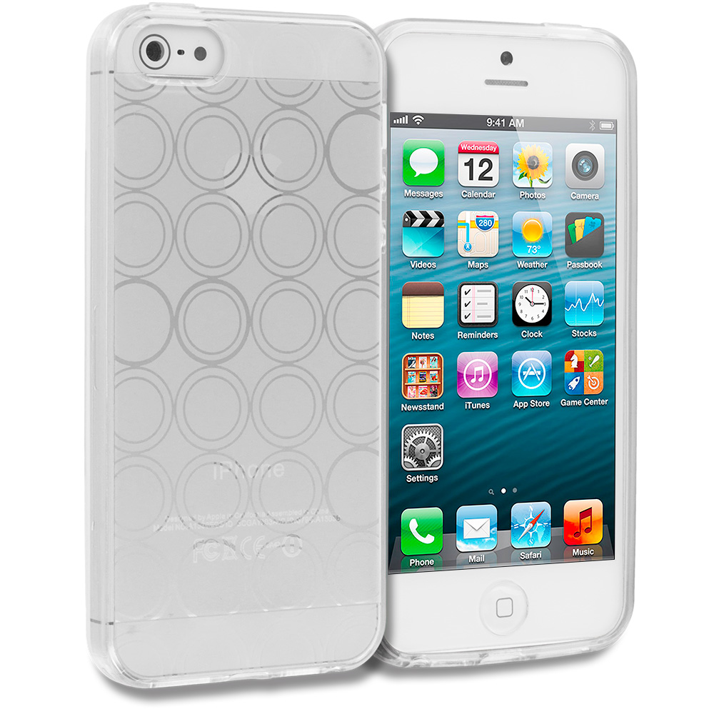 Apple iPhone 5/5S/SE Combo Pack : Clear Circles TPU Rubber Skin Case Cover : Color Clear Circles